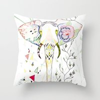 Elephant / June Throw Pillow