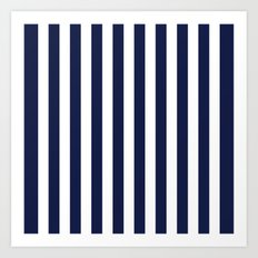 Stripe Vertical Navy Blue Art Print