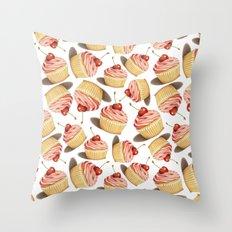 Pink Cupcake II Throw Pillow