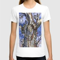Two Owls and Two Crows Share One Tree Womens Fitted Tee White SMALL