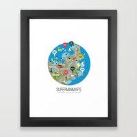 Sydney Swimming Spots Minimap by Alejandro Castillo Framed Art Print