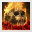 skull, roses and fire Canvas Print