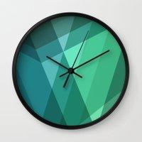 Fig. 046 Mint, Sea Green, Blue & Teal Geometric Wall Clock