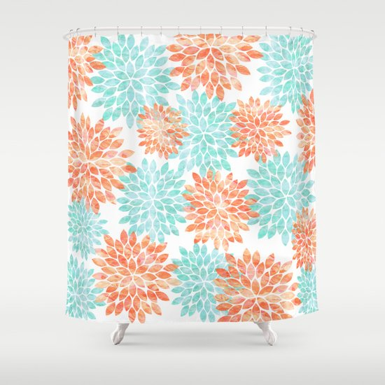 Where Can I Buy Inexpensive Curtains Coral and Sage Shower Curtain