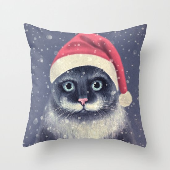 Christmas cat with a mustache Throw Pillow
