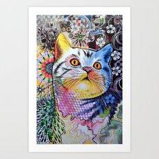 Chloe ... Abstract cat art Art Print