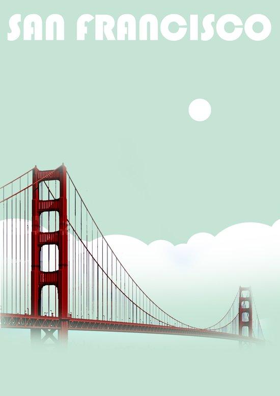 Aqua San Francisco Golden Gate Bridge Collage Poster Print Art Print