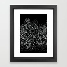 B&W Lace Framed Art Print