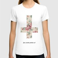 Flower Cross Womens Fitted Tee White SMALL