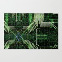 Circuit board very green zoom Canvas Print