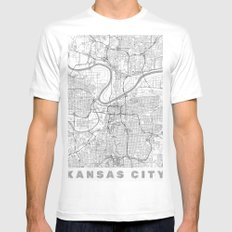 Kansas City Map Line SMALL White Mens Fitted Tee