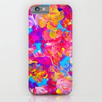 FLORAL FANTASY Bold Abstract Flowers Acrylic Textural Painting Neon Pink Turquoise Feminine Art iPhone 6 Slim Case