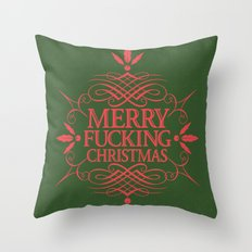 Merry Effin Christmas Throw Pillow