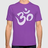 Mantra ... Aom In White Mens Fitted Tee Ultraviolet SMALL
