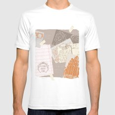 vintage postcards Mens Fitted Tee White SMALL