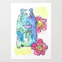 Spring Rose Bear Art Print