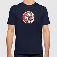 Native American Warrior Chief Circle Mens Fitted Tee Navy SMALL