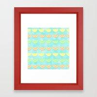 Citrus Smiles Stripes Framed Art Print