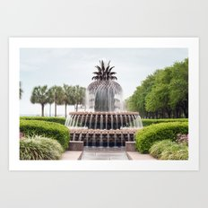 Charleston Pineapple Fountain Art Print