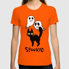 Spooked Womens Fitted Tee Orange SMALL