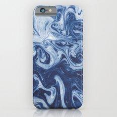 Yutaka - spilled ink marbled paper marbling swirl india ink minimal modern blue indigo pattern iPhone 6 Slim Case