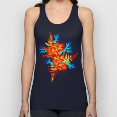Coral Carnation - Orange/Blue Unisex Tank Top