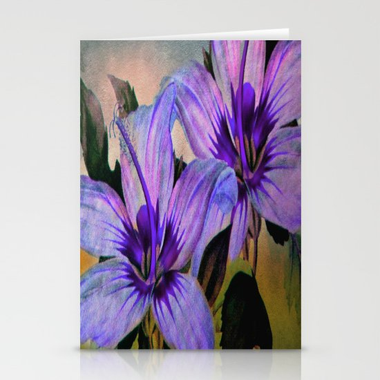 Vintage Painted Lavender Lily Stationery Card