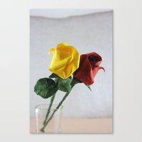 Origami Yellow and Red Roses Canvas Print