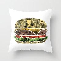 The Rising Burger Throw Pillow