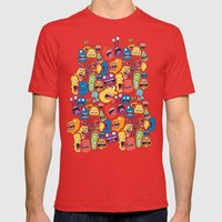 Monster Faces Pattern Mens Fitted Tee Red SMALL
