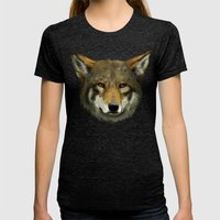 Wolf face Womens Fitted Tee Tri-Black SMALL