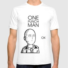 One Punch Man Saitama Mens Fitted Tee White SMALL