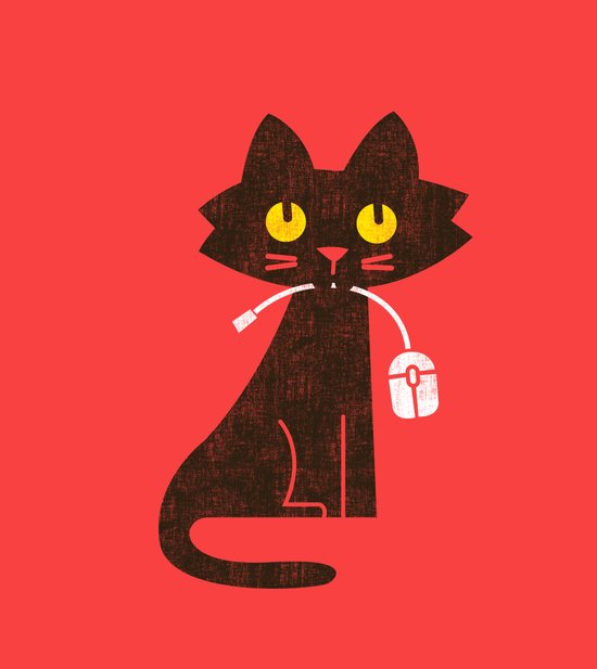 Fitz - Hungry hungry cat (and unfortunate mouse) Art Print