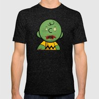 Zombie Charlie Brown Mens Fitted Tee Tri-Black SMALL