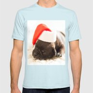 Christmas Dog Mens Fitted Tee Light Blue X-LARGE