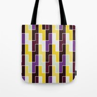 Purple & yellow rectangle pattern Tote Bag