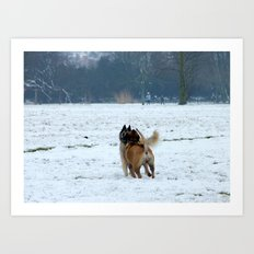 Dogs playing in the snow Art Print