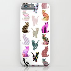 Girly Whimsical Cats aztec floral stripes pattern iPhone 6 Slim Case