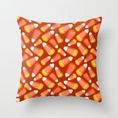 Halloween Candy Corn Pattern Throw Pillow