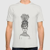 Pencil Hat B&W Mens Fitted Tee Silver SMALL