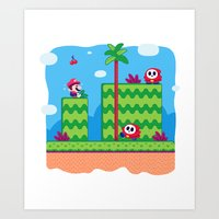 Tiny Worlds - Super Mario Bros. 2: Mario Art Print