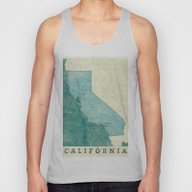 California Map Blue Vint… Unisex Tank Top