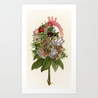 Heart In Bloom - anatomical collage art by bedelgeuse Art Print