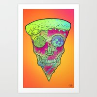 Skull Slice Neon Art Print