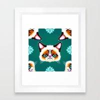 Grumpy Cat Geometric Pattern Framed Art Print