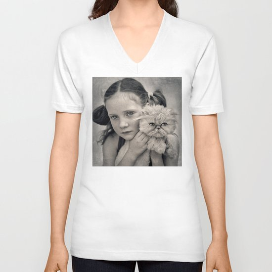 A Girl and her Cat V-neck T-shirt