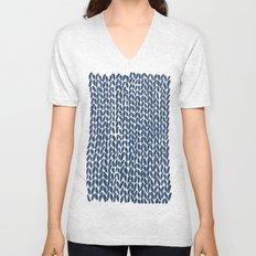 Hand Knit Navy Unisex V-Neck