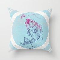 Bass Jumping In Blue Cir… Throw Pillow