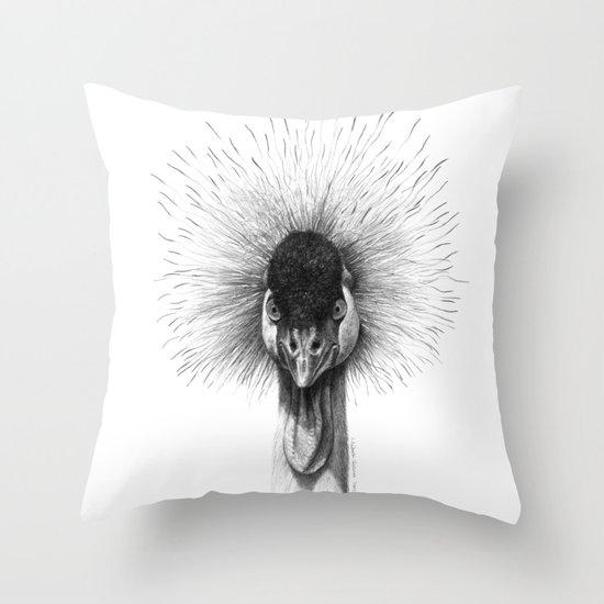 Black Crowned Crane G2012-065 Throw Pillow