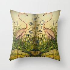 2 Flamingos  Throw Pillow